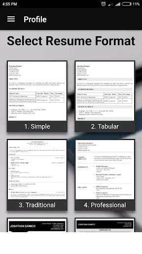 free resume builder pdf formats cv maker templates app