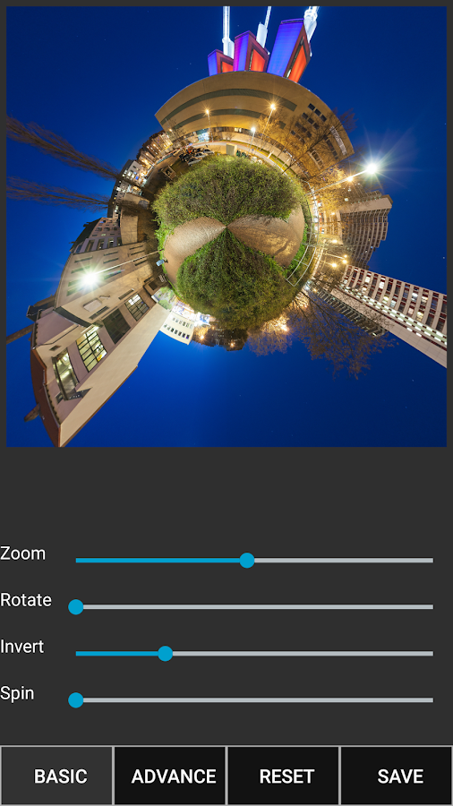 Tiny Planet Fx Pro: captura de pantalla