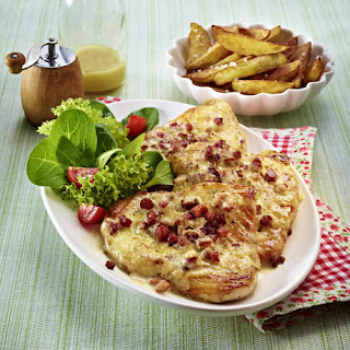 Turkey Breast in Gruyère Bacon Sauce with Potato Wedges