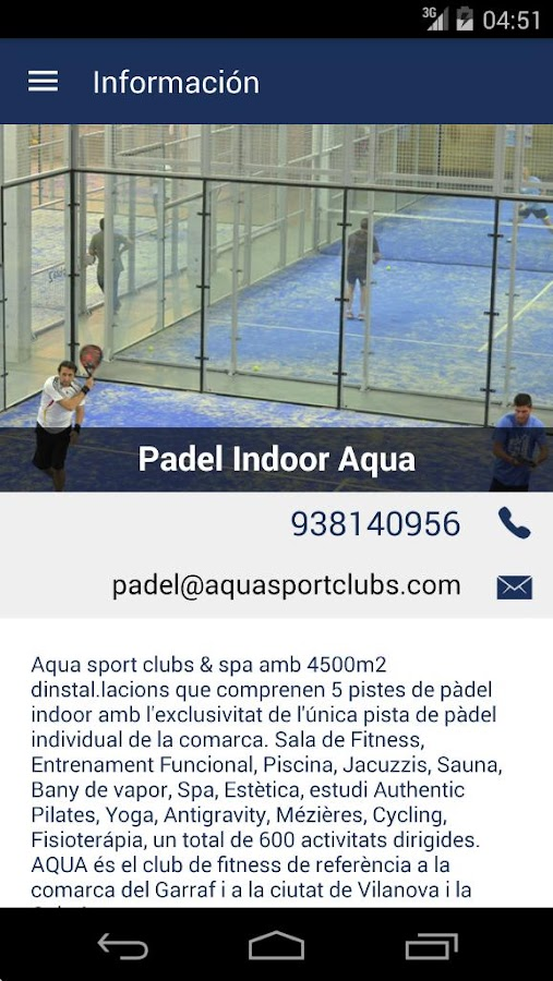 Padel Indoor Aqua: captura de pantalla