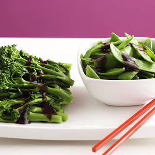 Chinese Broccoli and Snow Peas in Oyster Sauce.