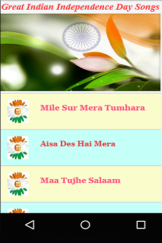 Great Indian Independence Day Songs Videos screenshot 1