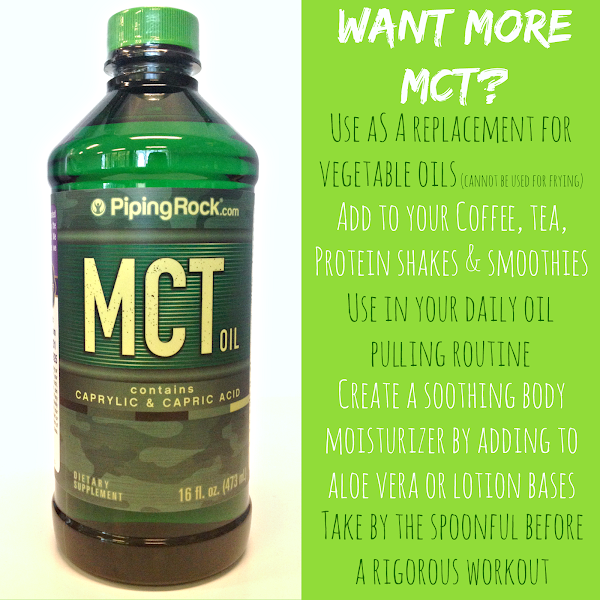 """Photo: What's YOUR favorite way to use MCT Oil? Here's some ideas for ways to incorporate this supremely nutritional superfood into your daily routine!**  Don't know what MCT Oil is?  MCT (medium-chain triglycerides) comprises the saturated fat (AKA """"good fat"""") found in coconuts and palm kernels. As a concentrated oil, it offers a plethora of wellness benefits, from supplying energy for your body and mind (hence why athletes and fitness enthusiasts love it) to supporting healthy appetite and blood sugar already within normal range.** It's also extremely popular in supporting weight management regimens!**  Learn more and get your top-quality discount MCT Oil here! bit.ly/1qOPGqy  #mctoil #mct #coconutoil #fitness #nutrition #pipingrock"""