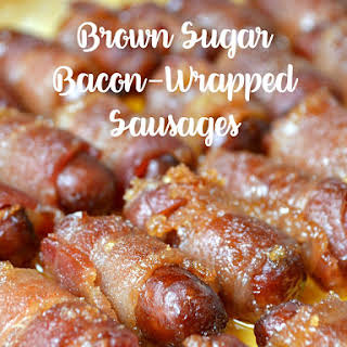 Brown Sugar Bacon-Wrapped Sausages.