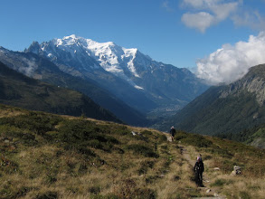 Photo: As we start up to the pass, the great snow dome of Mont Blanc (15782 ft / 4810 m) towers behind us ...