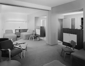 Photo: Terrace Plaza Hotel, Location: Cincinnati OH, Architect: Skidmore Owings & Merrill. Room with disappearing wall - wall up.