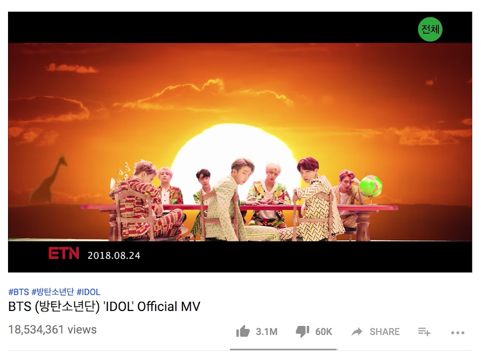 bts idol 10 million view