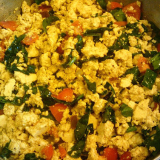 Vegan Curried Tofu Scramble with Spinach.