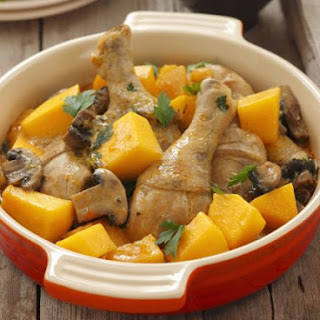 Baked Chicken with Mushrooms and Pumpkin