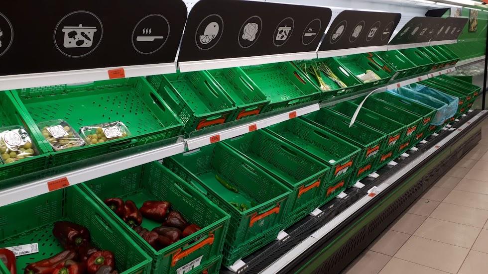 Sin fruta este viernes en un Mercadona de la capital.