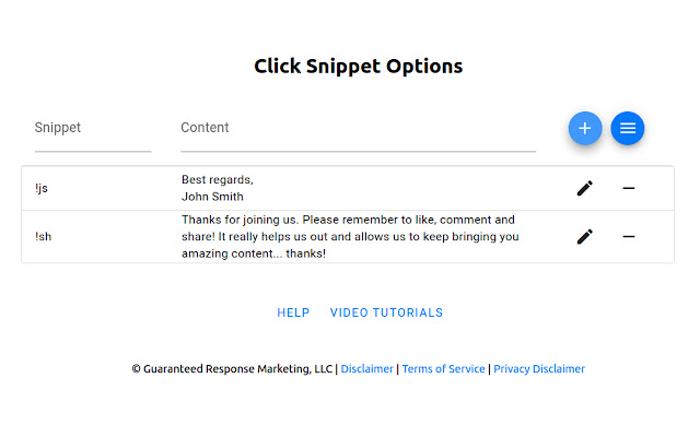 Click Snippet