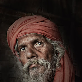 The Question by Arnab Bhattacharyya - People Portraits of Men ( monk, sage, red, turban, indian, question, portrait, culture )