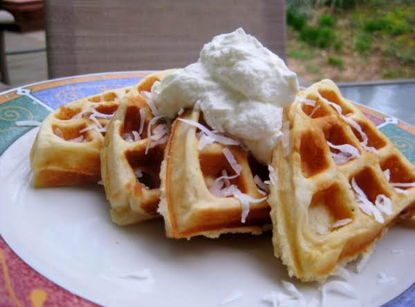 Coconut, White Chocolate, Macadamia Nut Belgian Waffles