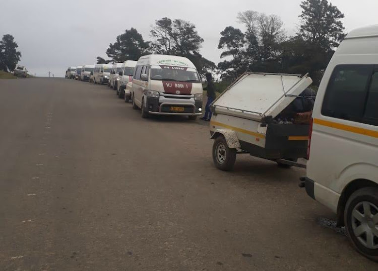 Minibus taxis transporting seasonal workers between the Eastern Cape and Western Cape.