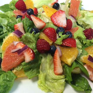 Fruit Filled Green Salad with Citrus Dressing