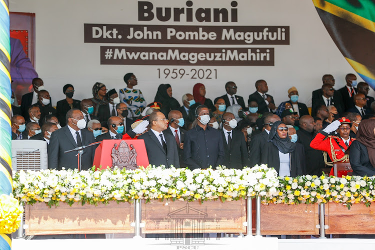 President Uhuru Kenyatta and other guests at Jamhuri Stadium in Dodoma, Tanzania for the State Funeral of former President Dr John Pombe Joseph Magufuli on March 22, 2021.