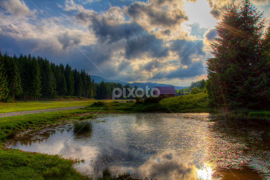 Mountain pond at sunset by Stanislav Horacek - Landscapes Prairies, Meadows & Fields