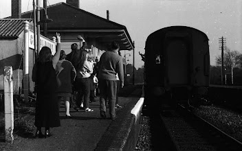 Photo: A party being waved off at Charlbury (Apr 1972)