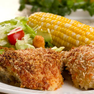 Oven Fried Chicken Thighs With Panko Crumb Coating.