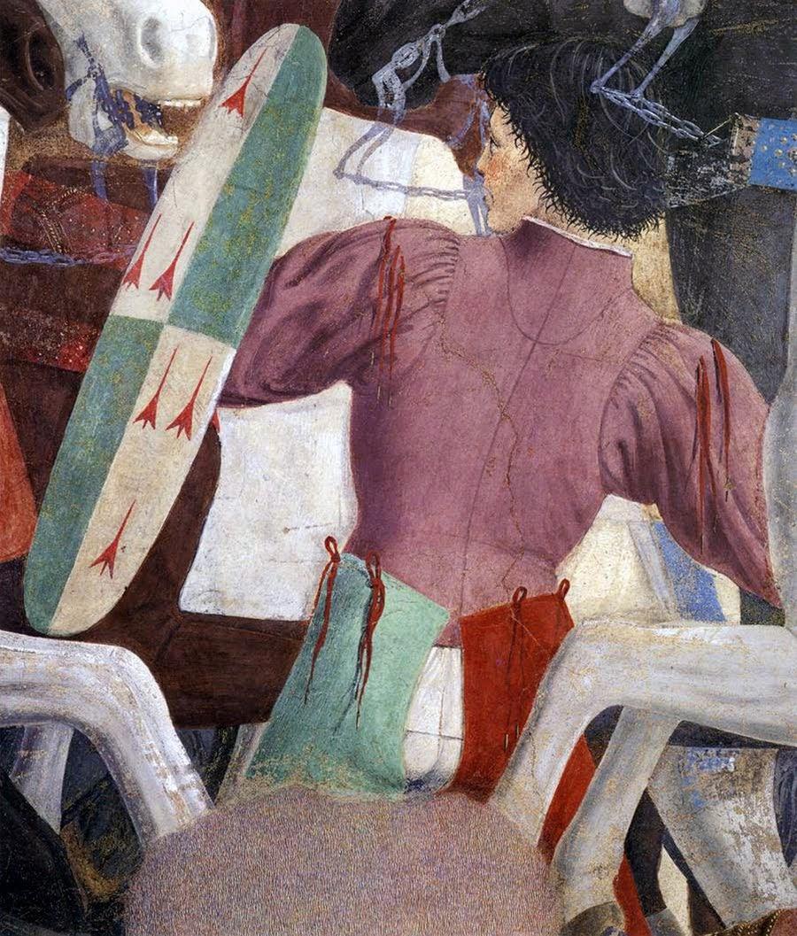 Piero della Francesca, Le Storie della Vera Croce,Battaglia di Eraclio e Cosroè, (particolare, bel giovane elegante coi suoi gambali rossi e verdi), Basilica di San Francesco, Arezzo