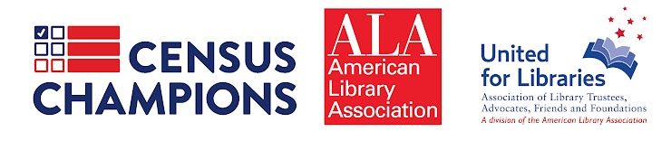 Census Champions, American Library Association, United for Libraries logos