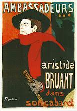 Photo: Toulouse-Lautrec Henri de: Aristide Bruant ve svém kabaretu, 1893, čtyřbarevný plakát.