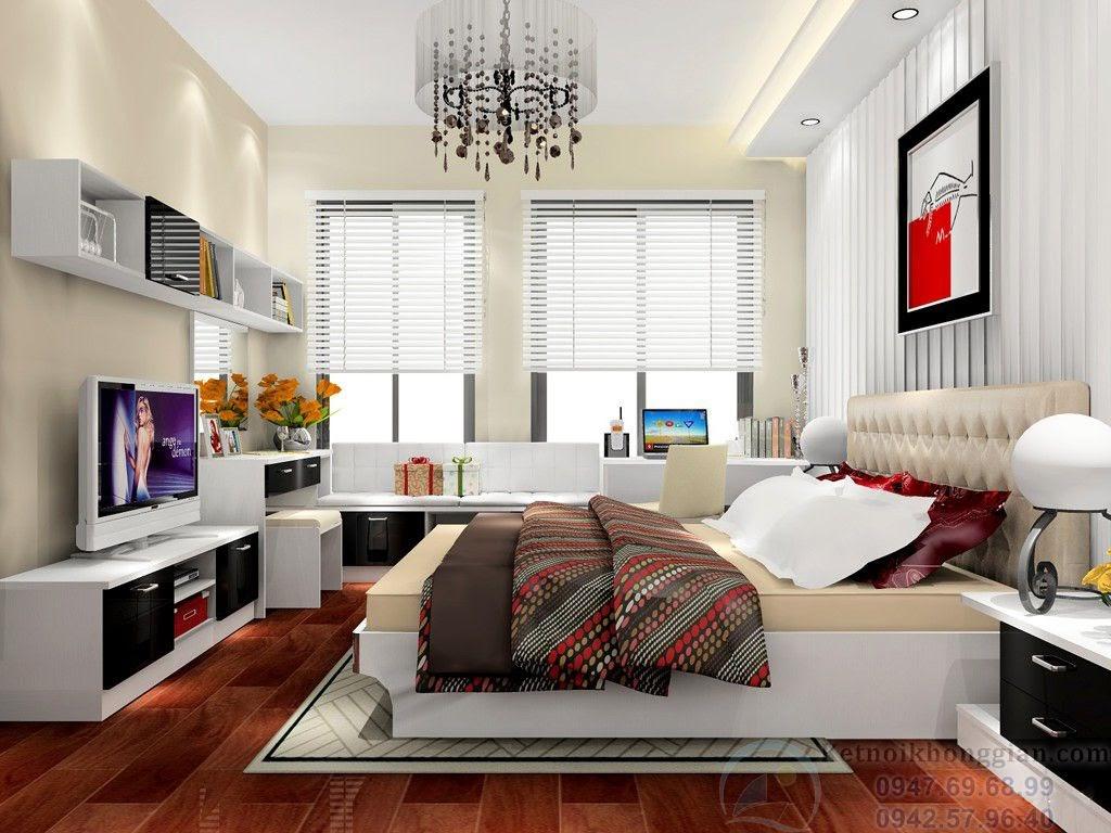thiết kế phòng ngủ kết hợp phòng đọc sách đơn giản