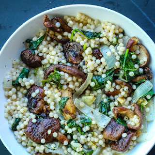 Creamy Israeli Couscous with Mushrooms and Kale.