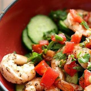 Cajun Shrimp and Marinated Cucumber Salad.