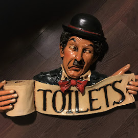 This way! by Carol Leynard - Artistic Objects Signs ( toilet, sign, toilet roll, pointing, charlie chaplin )