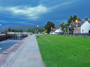 Photo: Locks at Fort Augustus at night - looking towards Loch Ness (East)