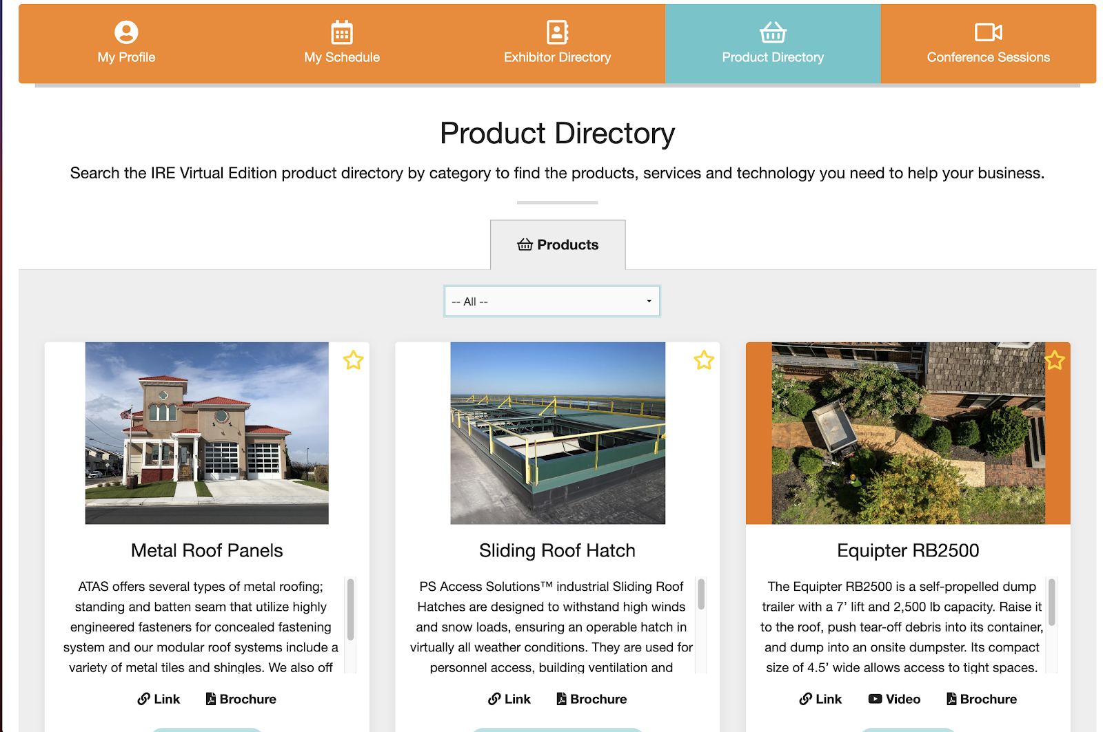 An example of a virtual trade show's product directory.
