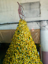Photo: The Christmas Tree is made up of recycled cooking oil bottles.