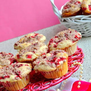 Strawberry Muffins with Cream Cheese filling and Streusel Topping