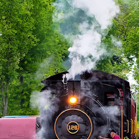 Boiling Up by Damon Hensley - Transportation Trains ( coal, steaming locomotive, maryland, train, walkersville rail road )