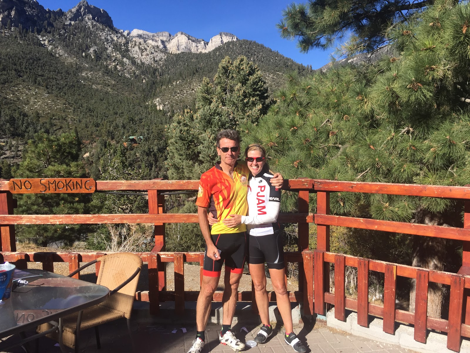 Cyclists at Mt. Charleston Resort.