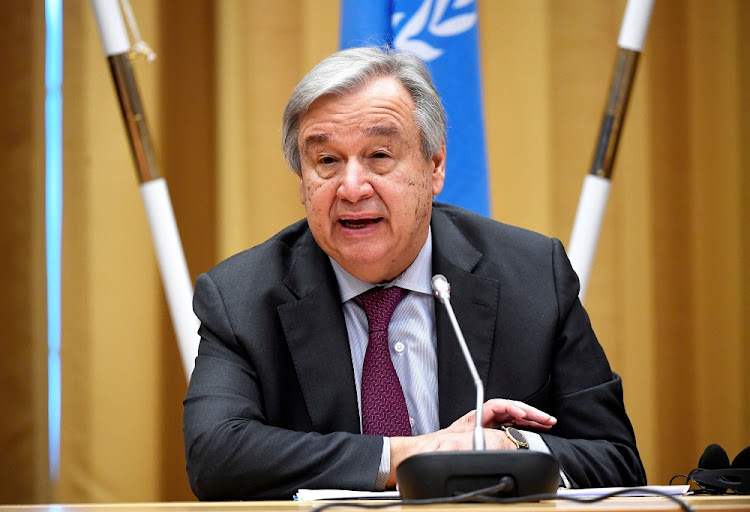 UN Secretary-General Antonio Guterres addresses the closing session at the Yemen peace talks at Johannesberg castle in Rimbo, Sweden, December 13 2018. Picture: TT NEWS AGENCY/PONTUS LUNDAHL/REUTERS