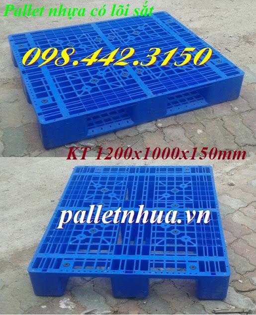 Pallet nhựa có lõi sắt 1200x1000x150mm