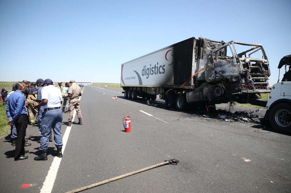 WATCH | N12 in Joburg closed until further notice after two trucks torched - SowetanLIVE