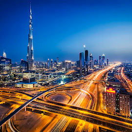 Downtown by Rose Ann Kerr - City,  Street & Park  Skylines ( dubai, blue hour, buildings, night, streets, architecture, burj khalifa, street lights )