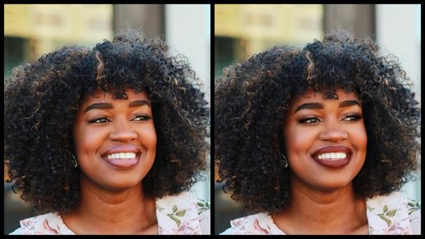 Antes e depois da foto de uma mulher negra onde uma das fotos está com a maquiagem Sugarplum do AirBrush