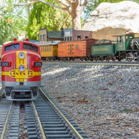 Side Tracked... by Fred Prince - Transportation Trains ( f-7a locomotive, diesel locomotive, steam train, g-scale, model trains )