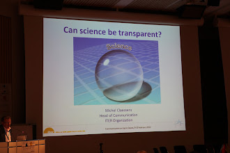 """Photo: """"Communicating Science & Innovations"""" Panel - 2012: M. Cleassens's (ITER) presentation - opening slide"""