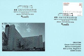 Photo: Tarjeta del matasellos del 40 aniversario del Hospital de San Agustín de Avilés