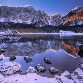 frozen beauty by Bor Rojnik - Landscapes Waterscapes ( lago, slovenia, frozen lake, lake, sunrise, frozen, italy,  )
