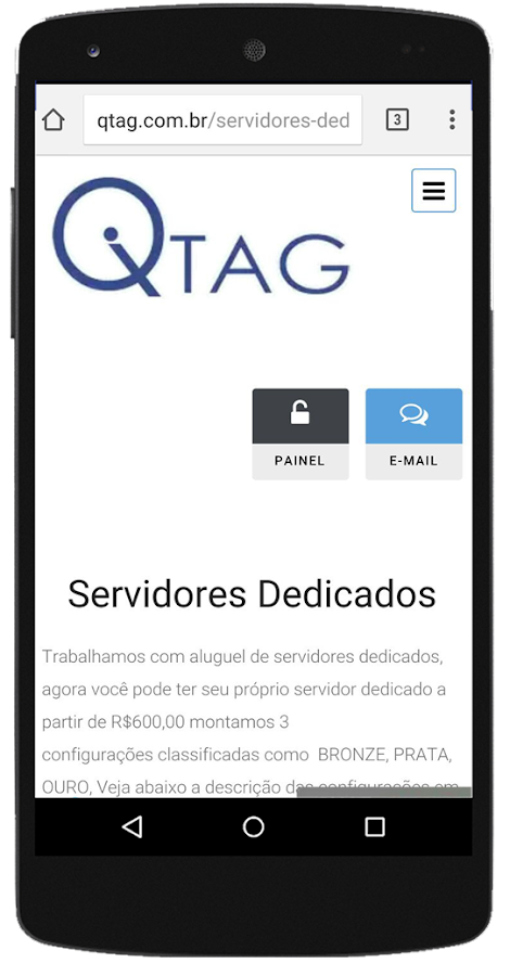 Qtag Hospedagem de Sites– captura de ecrã