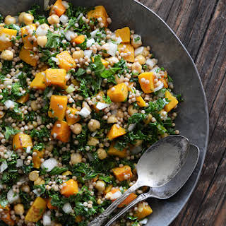 Roasted Butternut Squash Salad with Chickpeas, Kale, and Pearl Couscous.