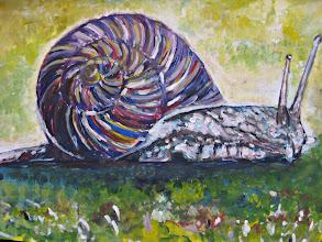Photo: Nieuwste schilderijtje. Van een slak.  Acryl op papier
