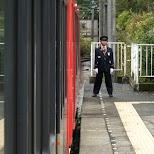 the train conductor in Hakone, Kanagawa, Japan