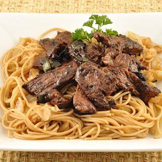 Stir-Fried Steak with Black Garlic.